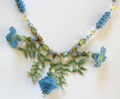 Balloon Flower Beadwork Necklace