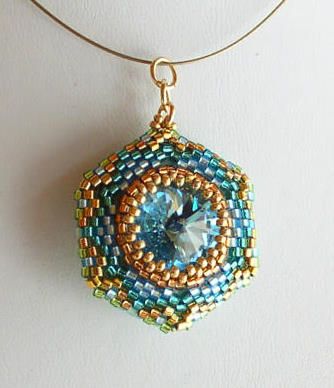 Reversible Pendant Aqua Chrysolite 1 Bead kit