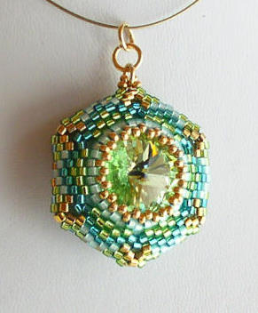 Reversible Pendant Aqua Chrysolite 2 Bead kit