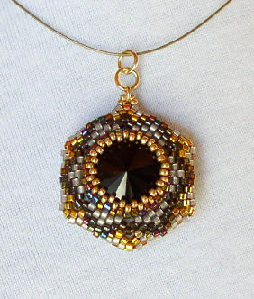 Reversible Pendant Jet Gold Bead Kit