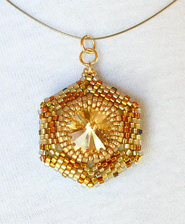 Reversible Pendant Jet Gold 2 Bead Kit